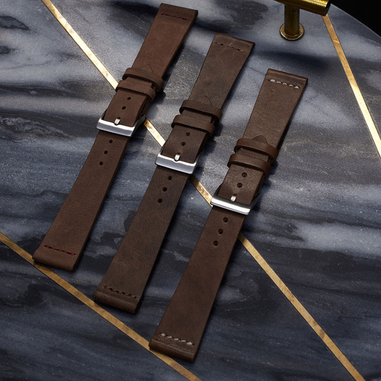 Kate Benson, accessories still life product photographer, styled and photographed leather watch straps.