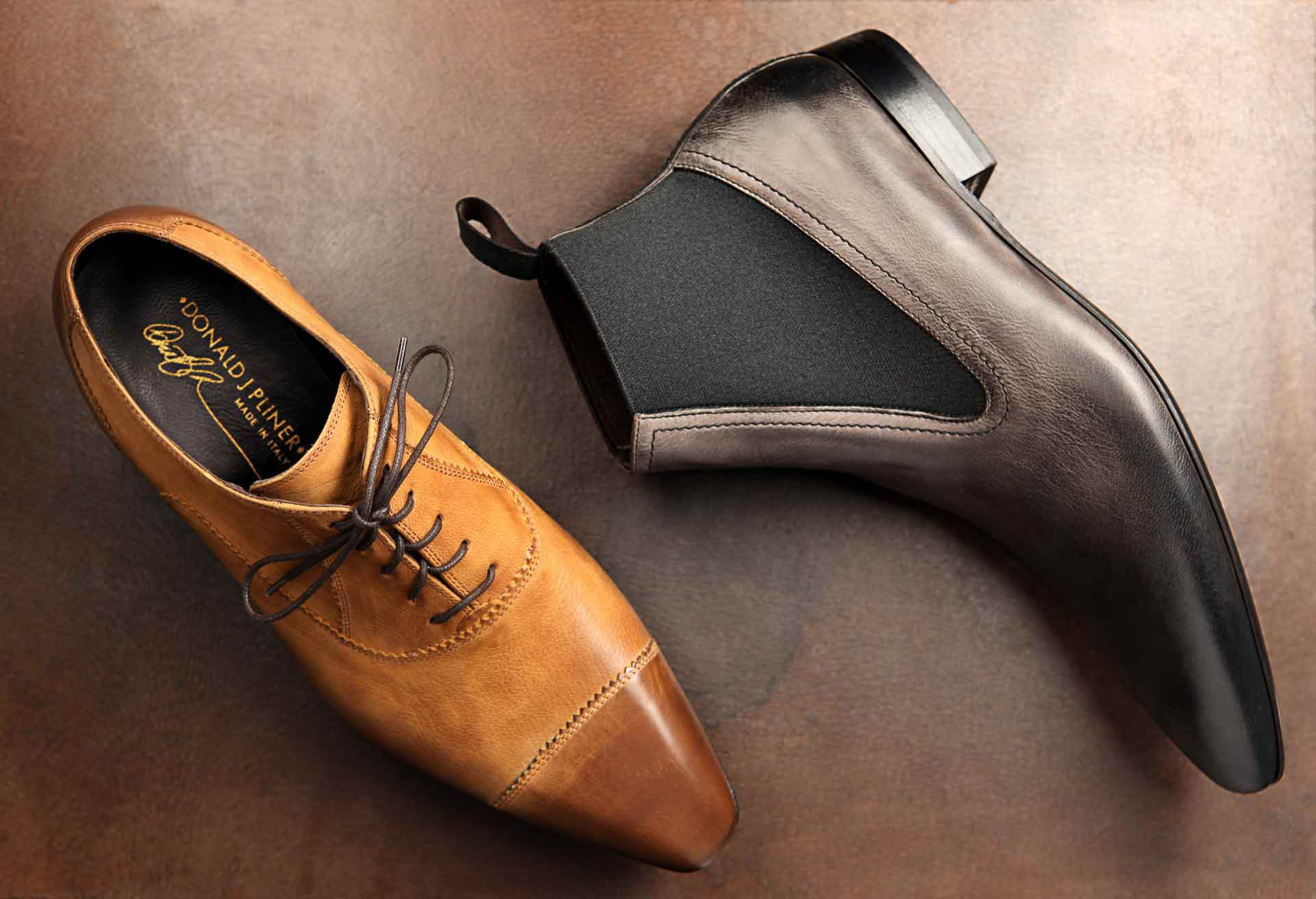 Leather shoes photographed by soft and hard goods still life photographer Kate Benson.